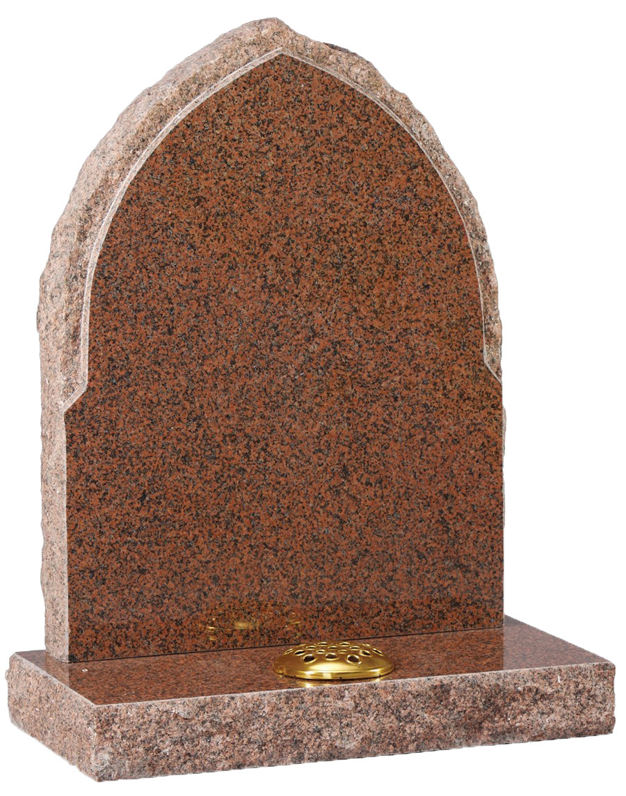 Red Granite Headstones : Red granite gothic headstone with natural edges leverton
